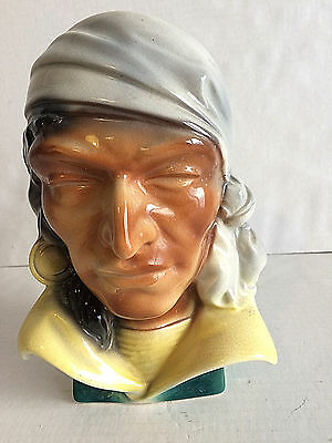 Vintage Singed Royal Copley Pirate Head Wall Pocket Vase Planter 8.5""