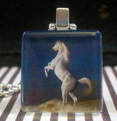 Arabian White Horse Art Glass Charm Pendant Necklace Silver Equestrian Jewelry