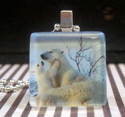 Polar Bear Mother & Child Glass Charm Pendant Necklace Silver Jewelry Women Gift