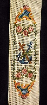 Antique Large Punch Paper Book Mark Anchor & Cross