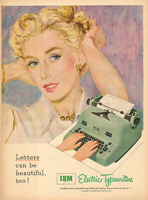 1950s vintage AD for IBM Electric Typewriters   Art lovely blonde 121716