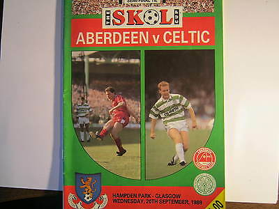 Aberdeen v Celtic  Skol Cup Semi Final Match Programme 1989 (E)