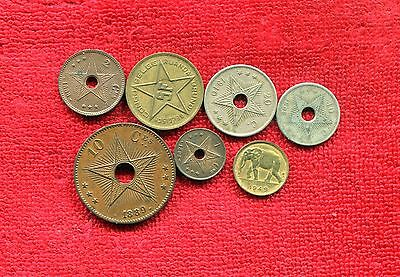 Belgian Congo Belgium Lot Of 7 Old Coins Nr 8.95