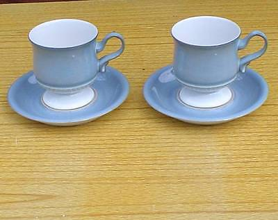 "2 Denby Blue Castille""  Footed Tea Cups & Saucers"