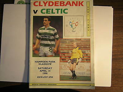 Clydebank  v Celtic  Scottish Cup Semi Final Match Programme 1990 (E)