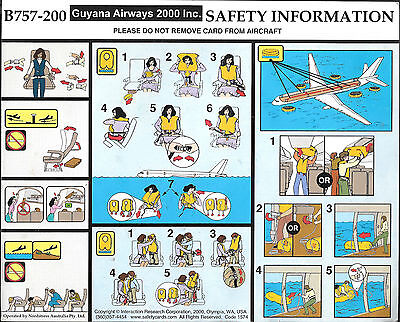 1 x GUYANA AIRWAYS 2000 INC. B757-200 SAFETY CARD
