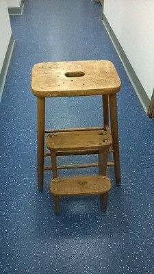 Vintage Kitchen Wooden Stool / Steps.  Shabby Chic. Charity Sale