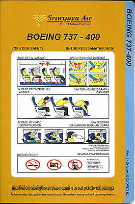 1 x SRIWIJAYA AIR B737-400 SAFETY CARD *OCTOBER 2012*