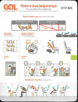 1 x GOL B737-800 SAFETY CARD *FEV 2015*