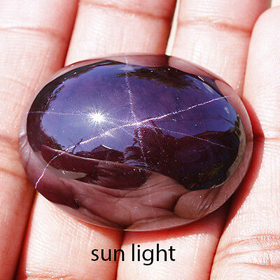 223.9 Ct Natural Dark Purplish Red 6 Rays STAR ALMANDINE GARNET Oval Cab Gem !!