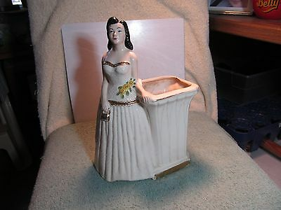 Vintage unmarked American Bisque Pottery black haired Belle of the Ball planter.