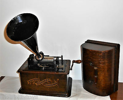 Edison Tall Standard 'b' Phonograph In Antique Oak Case With 2 Min Reproducer C