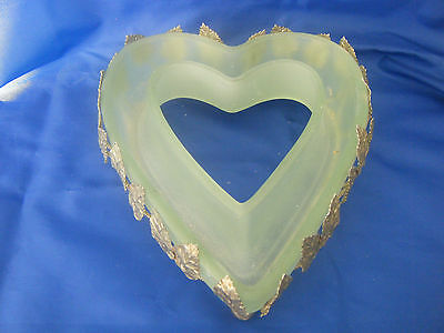 Art Deco Green Frosted Heart Shaped Posy Vase In A Gold Leaf Case