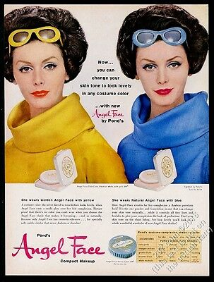 1961 Pond's Angel Face makeup compact 2 women photo vintage print ad