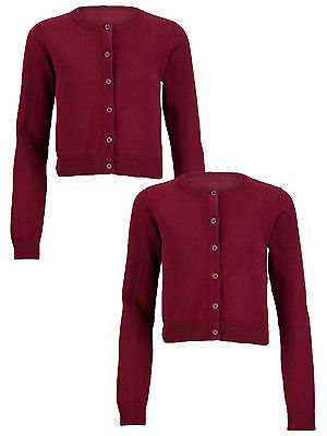 Top Class Essential Pack of Two Cardigans In Burgundy Size 7-8 Years