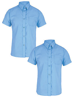 Top Class Girls Pack Of Two Short Sleeved Shirts In Blue Size 7-8 Years