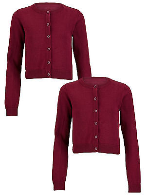 Top Class Essential Pack of Two Cardigans In Burgundy Size 5-6 Years