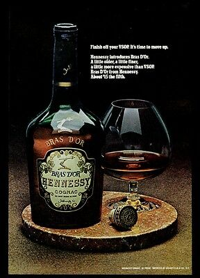 1971 Hennessy Bras D'Or cognac bottle and snifter photo vintage print ad
