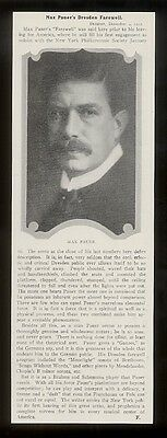 1912 Max Pauer photo Dresden farewell vintage print article