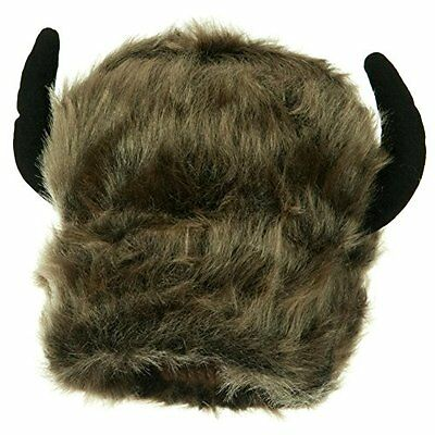 Furry Buffalo Bison Lodge Winter Novelty Costume Hat With Horns Adult Tailgate