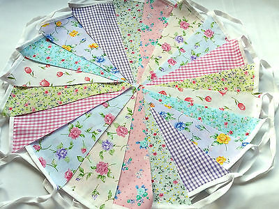 .20 ft/6m. FLORAL BUNTING WEDDINGS vintage shabby chic mixed handmade 20gd