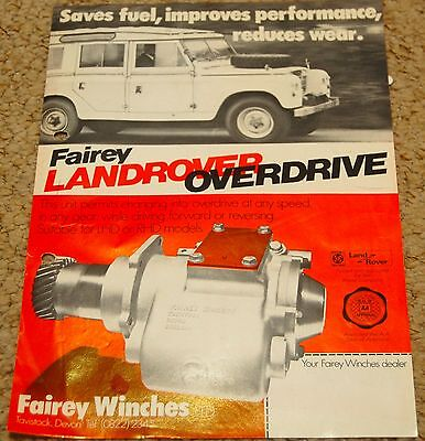 RARE Land Rover Series FAIREY Overdrive Leaflet Brochure A4