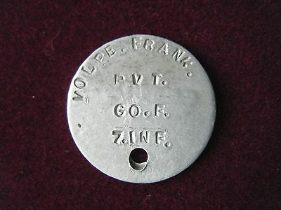 """7th Inf 3rd Div. Dog Tag """"Frank Volpe- 4079241"""""""