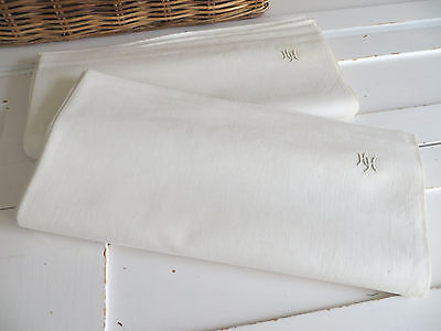 Unused  Set of Two White of Cream Finest  Linen Sheets Monogram HH Germany