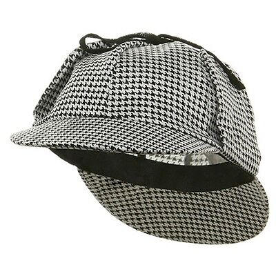 Adult Sherlock Holmes Detective Mystery Hat Cap Black and White Houndstooth