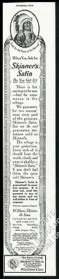 1912 Native American Indian Chief in headdress Skinners Satin vintage print ad 2