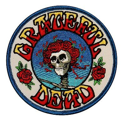 Grateful Dead Skull & Roses Music Band Embroidered Iron On Applique Patch p1228