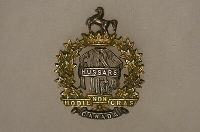 WW2 Canadian 1st Hussars Officers Cap Badge Gaunt Montreal