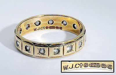 Lovely Vintage 9 Carat Gold Eternity Ring with Clear Stones. UK Hallmarked.