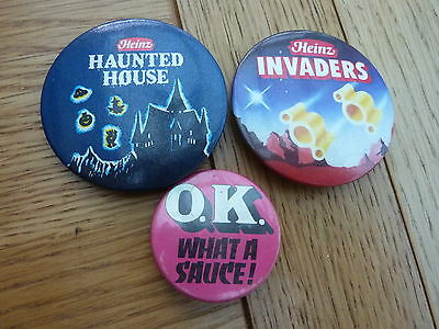 1980s HEINZ HAUNTED HOUSE & INVADERS METAL BADGES + OK SAUCE LARGEST 2 INCH