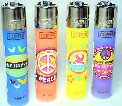4 x Clipper HIPPIE PEACE Lighters Set Refillable Flint DONT WORRY BE HIPPY ++NEW