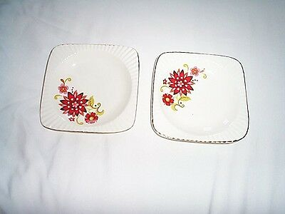 Pin Dishes 2 Square Cream And Red Floral Design Vintage  Made In Romania