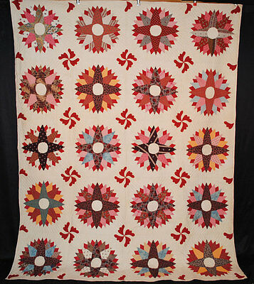 "ANTIQUE QUILT c1870's SUNBURST PATCHWORK + APPLIQUED 93"" x 72"" QUILTED"
