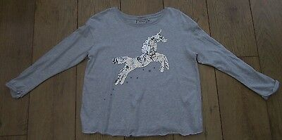 Next Age 10 years Grey Sequin Unicorn Long Sleeve Top T-Shirt BNWOT