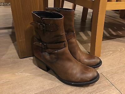 Ladies Brown Leather Clarks Boots, Size 6