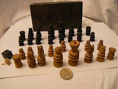 Small Wooden Chess Set In Original Small Metal Box