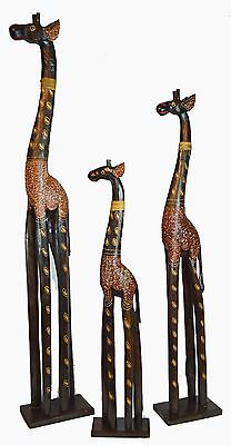 Set Of 3 Hand Carved African Giraffe Wood Sculpture Statue Jungle Tropical Baby