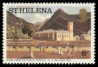 """ST. HELENA 302 (SG323A) - """"Scene from the Castle Terrace"""" by Bellasis (pa61069)"""