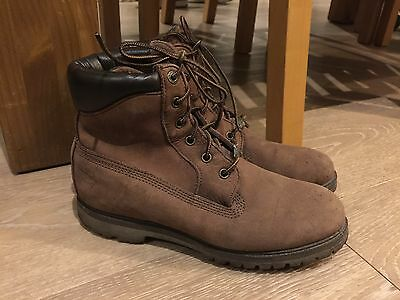 Ladies Brown Leather Timberland Boots, Size 6