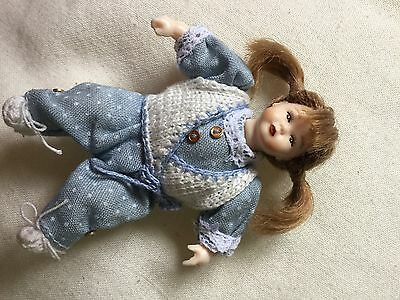 Dolls House Miniature Heidi Ott Fully Dressed Doll With Bunches