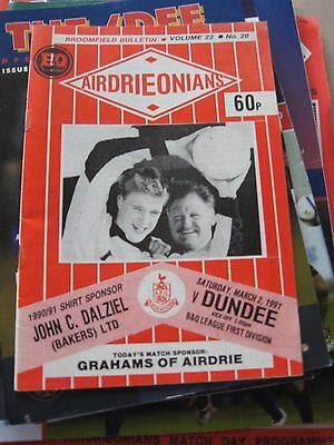1990-91 Airdrieonians v Dundee Scottish League D1 2.3.1991