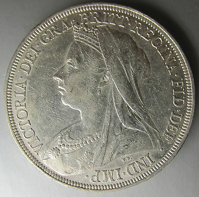 Great Britain England 1896-LX Silver Crown, Victoria Mature Draped Bust