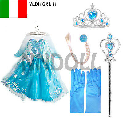 CARNEVALE COSTUME FROZEN dress bambina ELSA VESTITO BIMBA 808 +ACCESSORI