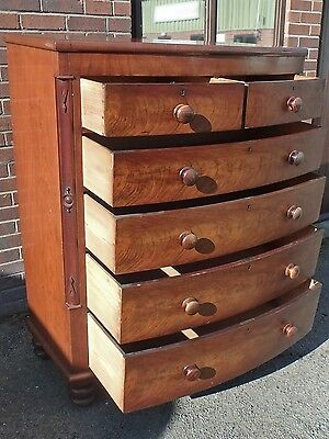 Large Victorian antique flame mahogany bow front bedroom chest secret drawers
