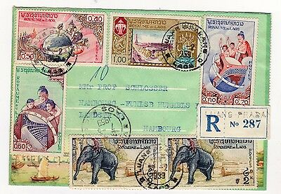 Laos 1959, Nice registered cover to Germany, stamps from 1958, see both side