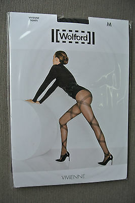 WOLFORD VIVIENNE strumpfhose Tights Gr M Astral Black Shipping Worldwide